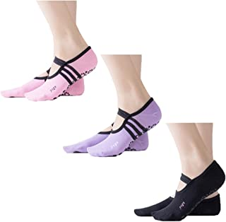 Z-Chen, Pack de 3 Pares Calcetines Antideslizantes para Yoga Pilates Mujer