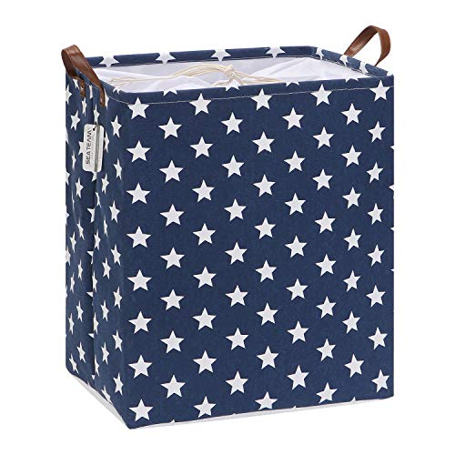 Sea Team 19.7 Inches Rectangle Large Size Canvas Fabric Laundry Hamper with PU Leather Handles, Storage Basket, Laundry Basket, Toys Organizer for Home, Nursery, Kid's Room (Star, Navy Blue)