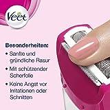 Veet Sensitive Shave Rasierer – Elektrischer Rasierer für Damen – Für eine sichere & schnittfreie Nass- und Trockenrasur – 1 x Elektrorasierer mit Zubehör - 6