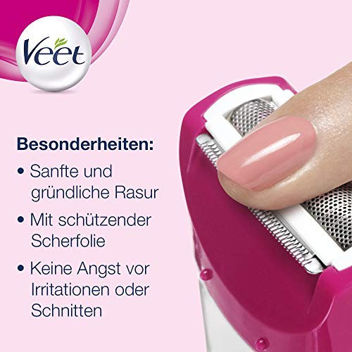 Veet Sensitive Shave Rasierer – Elektrischer Rasierer für Damen – Für eine sichere & schnittfreie Nass- und Trockenrasur – 1 x Elektrorasierer mit Zubehör