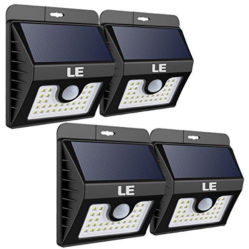 LE LED Solarlampe für Außen mit Bewegungsmelder, Superhell Solarleuchte Garten, IP65 Wasserdicht Sicherheitswandleuchte mit 3 Modi, 4er Pack