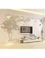 Doe-het-zelf 3D grote boom paar muurtattoos muursticker kristal acryl schilderen muurdecoratie kunst X-Large zilver, rechts.