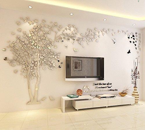 DIY 3D Riesiger Baum Paar Wandtattoos Wandaufkleber Kristall Acryl Malen Wanddeko Wandkunst (XL, Silber, Recht)