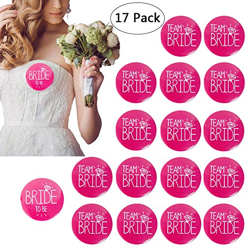 Yuccer 17 PCS Buttons Junggesellinnenabschied Accessoires 1 PCS Button Braut y 16 PCS Team Braut Button Bachelorette Party Accessories (Rosa)