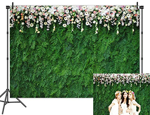 Qian Vinyl Nature Green Leaf Photography Backdrops 3D Floral Photo Backdrops for Wedding Bridal Shower Decoration Studio Props Banner 8x6ft