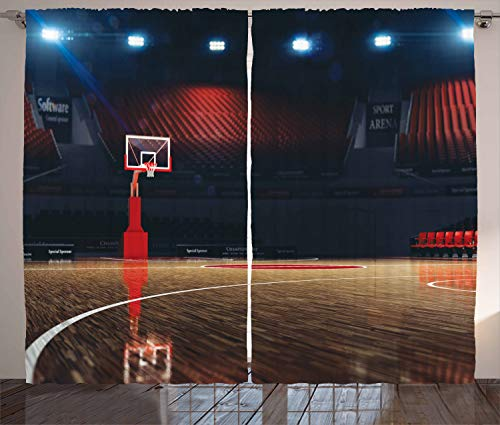 Ambesonne Basketball Curtains, Picture of Empty Court Sport Arena Wood Floor Print Active Life, Living Room Bedroom Window Drapes 2 Panel Set, 108' X 84', Brown Black
