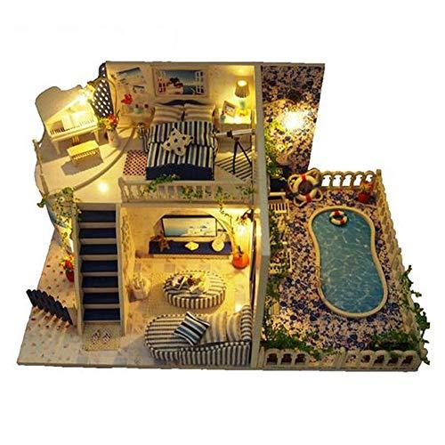 Eventualx Casita de muñecas, casita con luz LED, Hecha a Mano, Modelo arquitectónico, casita para niños, Regalo de cumpleaños, 11.817.845.51 Pulgadas