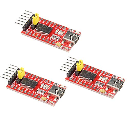 VKLSVAN 3個セット FTDI FT232RL USB-TTLシリアル変換アダプターモジュール 赤 5V/3.3V切り替え レッド USB to TTL Arduinoに対応