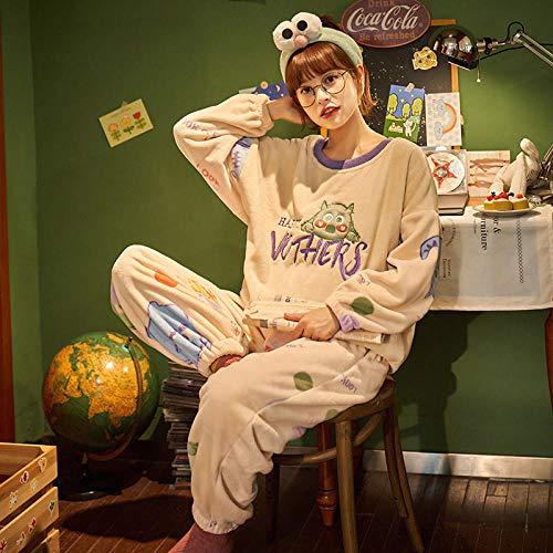 Cxypeng Pyjama Schlafanzug,Langärmeliger Pullover-Pyjama aus Korallenvlies, dick und...