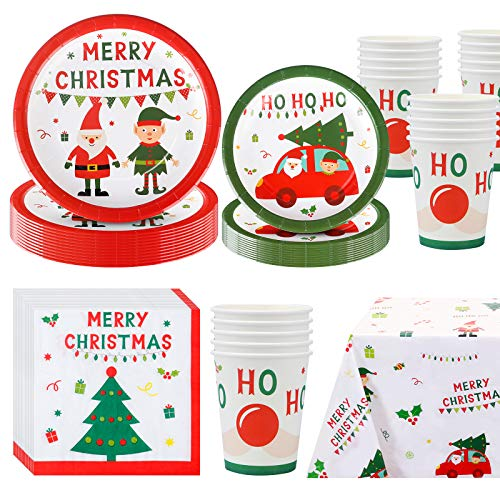 Amycute Christmas Party Plates and Cups, Disposable, Serves 20 Guests Xmas Party Pack Santa elk Sets, Dinnerware Paper Plates, Napkins, Spoons, Tableware Supplies 81 Pack