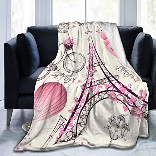 tuyi Viaggio Romantico a Parigi. Coperta in Pile Flanella Invernale Morbida e Calda, 50'x 60', per Letto, Divano, Sedia e Ufficio