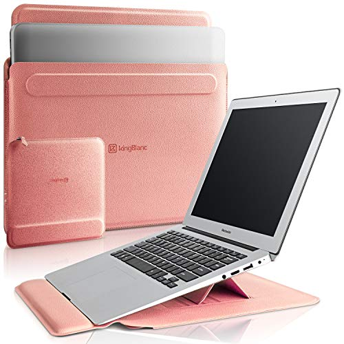 KingBlanc Laptop Sleeve Case for 13-13.3 inch, 3 in1 Multifunctional PU Leather Laptop Stand Case with Wrist Rest & Mouse Pad Pouch, for 13-13.3 inch MacBook Pro/MacBook Air (Peach Pink, 13-13.3inch)