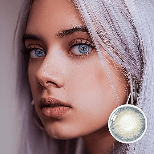 MISLENS Pack Lentillas de Hidrogel blandas 1 par Lentes de contacto color azul sin graduación. Duración: 12 meses. Incluye de regalo estuche y 10ml de solución (GRIS AZULADO)