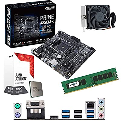 Components4All AMD Athlon X4 950 3.5Ghz Quad Core CPU, ASUS Prime A320M-K Motherboard & 4GB 2133Mhz Crucial DDR4 RAM Pre-Built Bundle
