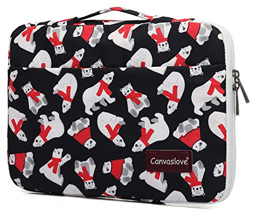 Canvaslove Polar Bear Waterproof Corner and Bottom Rebound Bubble Cushioned Laptop Sleeve Case with Handle and Pockets for MacBook Pro 16 inch,Surface Laptop 3/Surface Book 2 15 and 15.6 inch Laptop