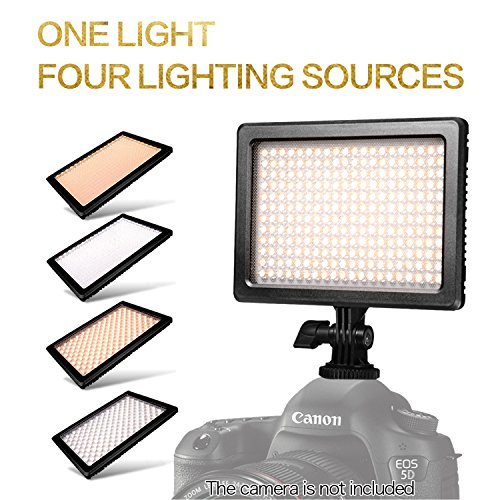 NanGuang DLSR LED Light 4-in-1 Dimmable Bi-Color On Camera LED Light with Battery, Charger and Carrying Case, LED Light for Canon Nikon DSLR Camera DC Camcorder