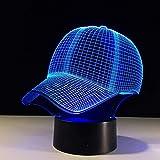 3D Led Night Light Gorra De Béisbol Lámpara De Escritorio Control Táctil 7 Colores Que Cambian Lampe Sleeping Lampe Light Sombrero De Acrílico Lámparas De Mesa Para Sombrero Deportivo