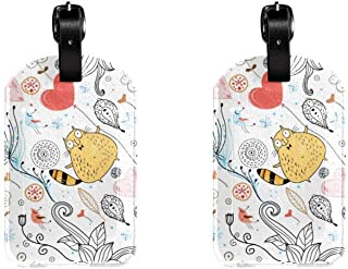Flowers And CatLeather Luggage Tags Suitcase Labels Bag Travel ID Bag Tag, 1 Pcs