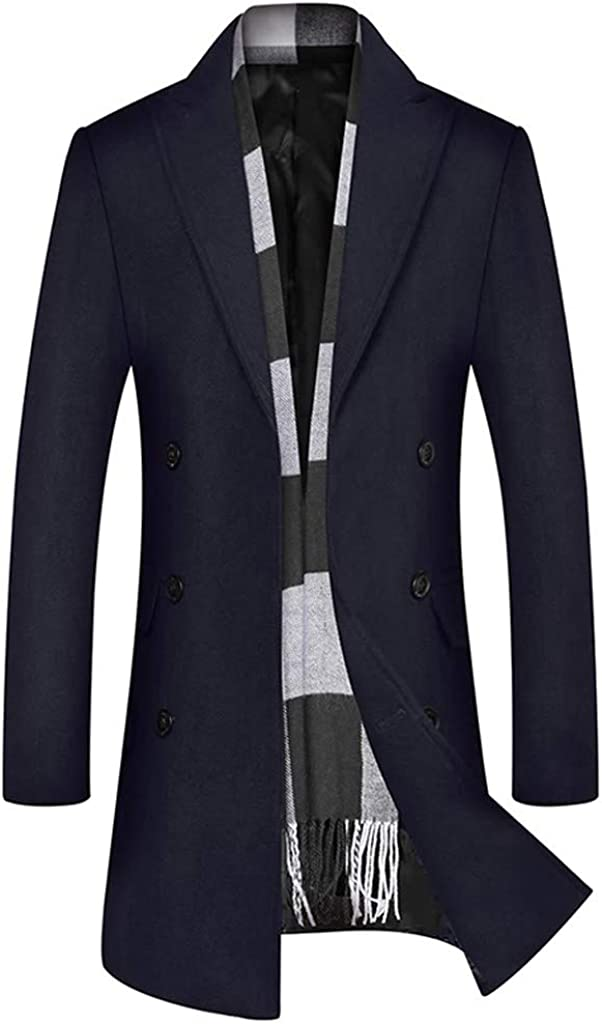GREFER-Mens Trench Coat Casual Business Single Breasted Long Jacket Lightweight Wool Blend Pea Coats Outwear