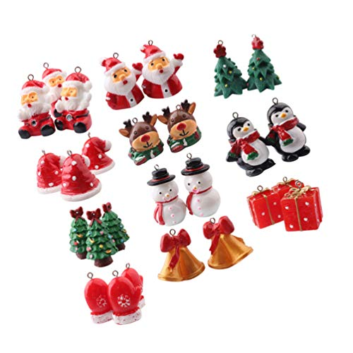 TOYANDONA 11pcs Christmas Miniatures Figurine Ornaments Cake Topper Reindeer Snowman Xmas Tree Ornament Decorations for Crafts Snow Globes Dollhouse Fairy Garden Advent Calendar Fillers