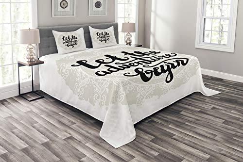 ABAKUHAUS, Przygoda, Narzuta na łóżko 264 cm x 220 cm + 2 poszewki na poduszki 90 cm x 50 cm, Mandala Zainspirowany Okrągły Motif zwrotem Hipster Winobrania, Pale Grey Black White