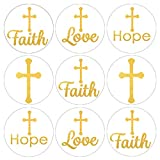 Gold Cross Baptism Party Favor Stickers - 180 Labels