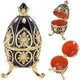 Huevo Faberge esmaltado pintado a mano Huevo real Diamante Joyero para collar Pulsera Baratija Decoración de escritorio para el hogar Regalos