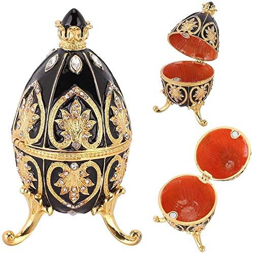 HEEPDD Handgeschilderde geëmailleerde Faberge Ei Koninklijke Stijl Diamante Ei Sieraden Doos voor Ketting Armband Trinket Thuis Desktop Decor Geschenken