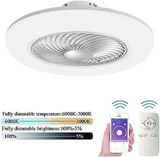 SLZ Ventilador de Techo con iluminación LED de Techo luz Regulable Ajustable con Ultra silencioso lámpara del Dormitorio Sala de Estar 80W Creativo Moderno la Velocidad del Viento a Distancia,Blanco