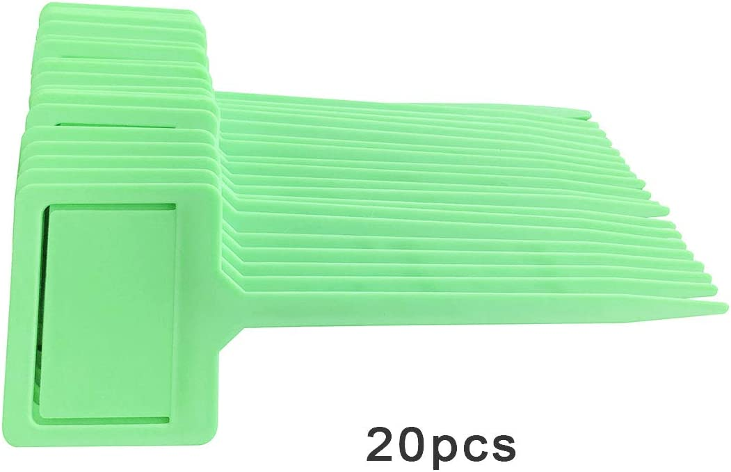 20 Pcs Plant Labels Plastic Plant Tags Waterproof Nursery T-Type Garden Tags Multi Colors Plant Stakes and Markers 7 x 2.4 Green