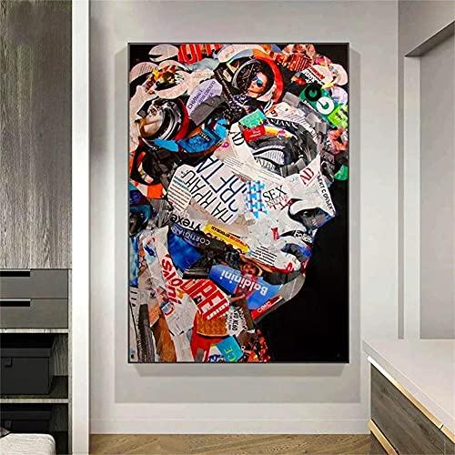 5D DIY Pintura Diamante Grande, Retrato de David Graffiti 30x60cm Bricolaje Diamond Painting Kit Completo punto de cruz Kit para Adulto y Niño, Rhinestone Bordado Manualidades Hogar Decoracion Regalo