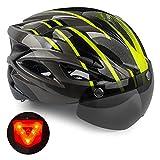 Casco de Bicicleta,KINGLEAD Casco CE con Visera Solar Extraíble, Casco Bicicleta para Adultos Casco de Ciclismo de Carretera con Gafas extraíbles Casco de MTB Ajustable para Hombres y Mujeres 56-62 CM
