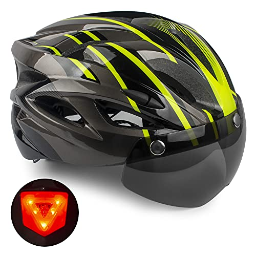 Casco de Bicicleta,KINGLEAD Casco CE con Visera Solar Extraíble, Casco Bicicleta...