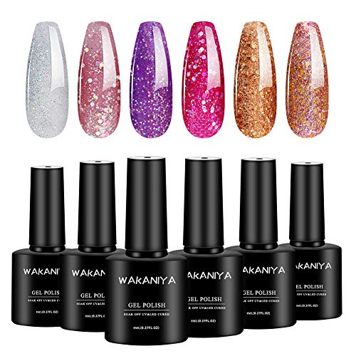 WAKANIYA UV Gel Nagellack Set, 6 Flaschen 6ml, Glitter Serie Solid Color, tränken weg Nail Art Gel Politur