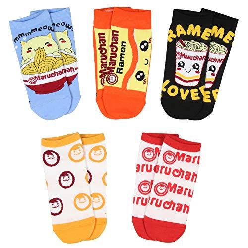 Maruchan Ramen Noodles Face Logo Adult 5 Pair No-Show Socks