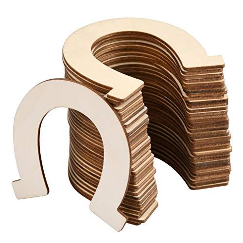 N\A THETHO 36 PCS Wooden Slices Horseshoe Shape Embellishments Ornament Unfinished Wooden Horseshoe DIY Wood Chip Craft Wood for Wedding Decorations Christmas Ornaments