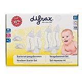 Difrax Neugeborenen set - 2x S-Babyflasche 170 ml - 2x S-Babyflasche 250 ml - 1x Schnuller Natural Kirschform 0-6 Monate - 1x Schnuller Dental 0-6 Monate