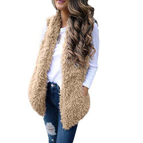 LuckyGirls Fellweste Damen Parka Fake Fur-Weste Winter Ärmellos Pelzweste (Khaki, XL)
