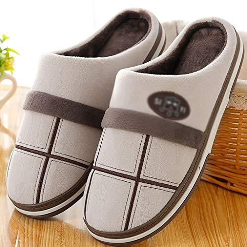 AYDQC Inicio Zapatillas para Hombres Invierno Gran paño a Cuadros Zapatillas cálidas Zapatos de habitación de Felpa Cortos para Hombre Hombres Hombres (Color : B, Size : 38)