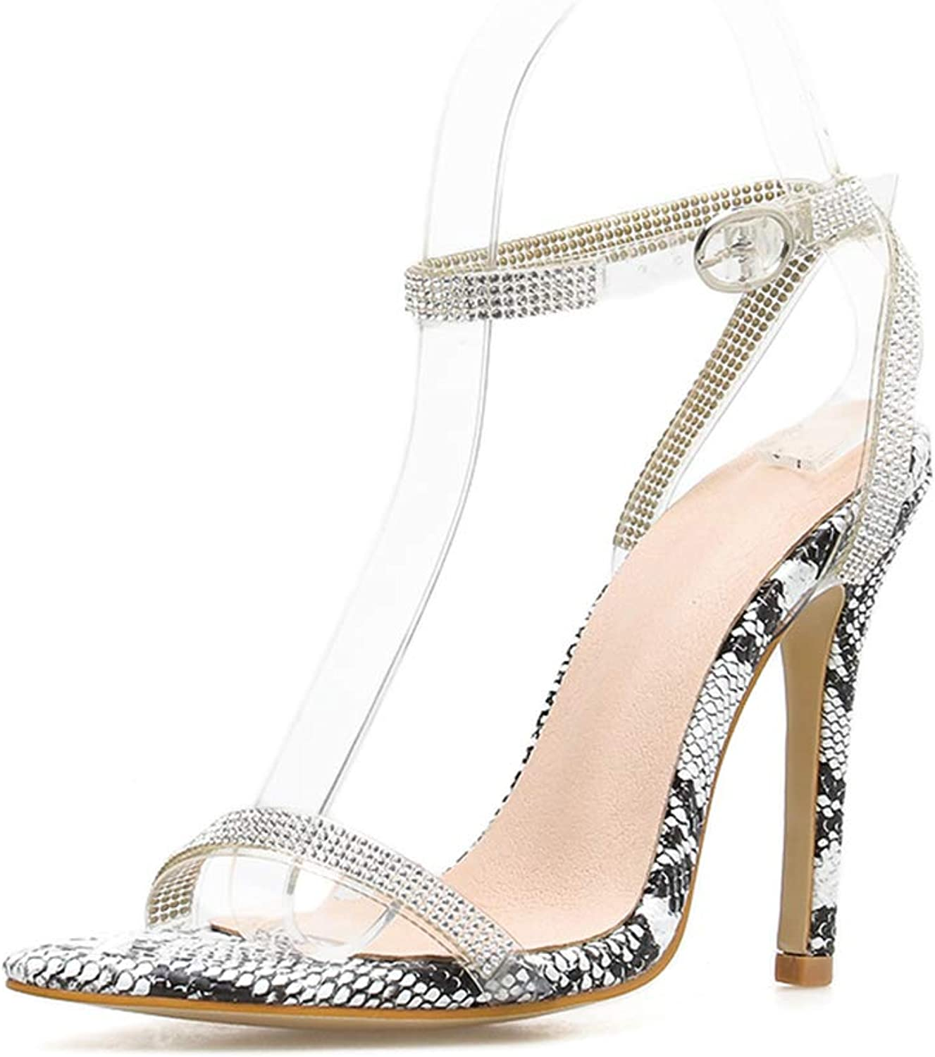 Women's Snake Pointed High Heels Open Toe Pointed Toe Transparent Ankle Strap Mid Heel Low Kitten Dress Pump shoes,36