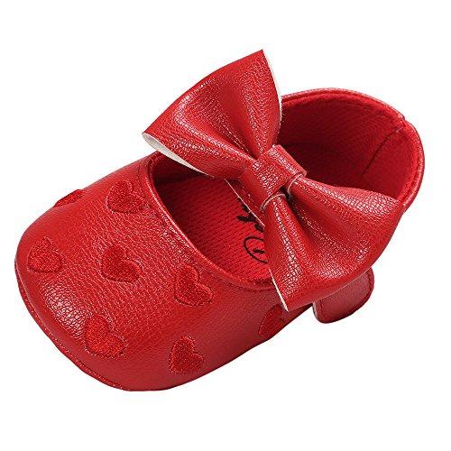 SUCES Mädchen Bogen Leder Weiche Schön Schuhe Prinzessin Baby Süß Babyschuhe Kleinkind Atmungsaktiv Einzelne Schuhe (rot4,11)