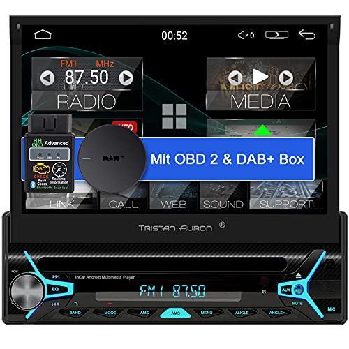 Tristan Auron BT1D7022A Android 10.0 Autoradio + OBD 2 und DAB+ Box I 7\'\' Touchscreen ausfahrbar I CD DVD GPS Navi 32GB Bluetooth Freisprecheinrichtung I USB SD DAB Plus 1 DIN