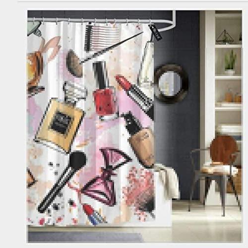 N/A Cosmetische en make-up thema patroon met parfum lippenstift nagellak borstel in moderne stijl waterdicht douchegordijn - water, zeep en - machine wasbaar 66 x 72 inch