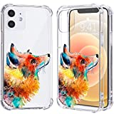 LuGeKe Red Fox Print Case for iPhone 12 Mini,Watercolor Painting Soft TPU Flexible Full-Body Airbag Shockproof Case Cover for Women Men,Transparent Anti-Scratch Bumper Protection Phone Case