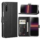 FUNMAX+ für Sony Xperia L4 Hülle, PU Leder Handyhülle mit 3 Kartenfächer, Schutzhülle Hülle Tasche Magnetverschluss Flip Cover Stoßfest für Xperia L4 2020 (Schwarz)