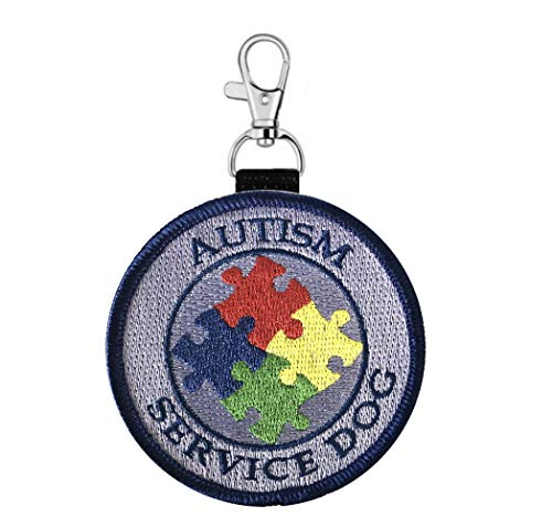 """Autism Service Dog"" Clip on Identification Hanging Identification Patch Tag – Clips onto a Service Dog Vest, Harness, Collar, Leash or Carrier."