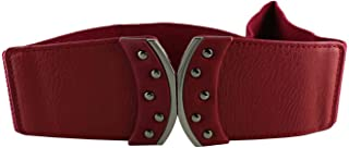 CHOCOLATE PICKLE New Ladies Stud Buckle Elastic Wide Stretch Cinch Waistband Belts One Size