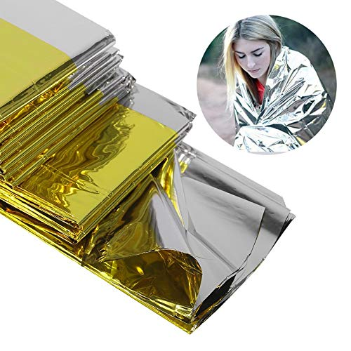 GFGHH Portable Multifunctional Emergency Blanket Lifesaving Thermal Insulation Sunscreen Blanket Gold Silver Double Color