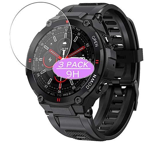 3枚 VacFun ガラスフィルム , SENBONO MAX6 MAX 6 1.28インチ スマートウォッチ SmartWatch 向けの 強化ガラス フィルム 保護フィルム 保護ガラス ガラス スマートウォッチ と互換性のある 液晶保護フィルム 腕時計 改善版