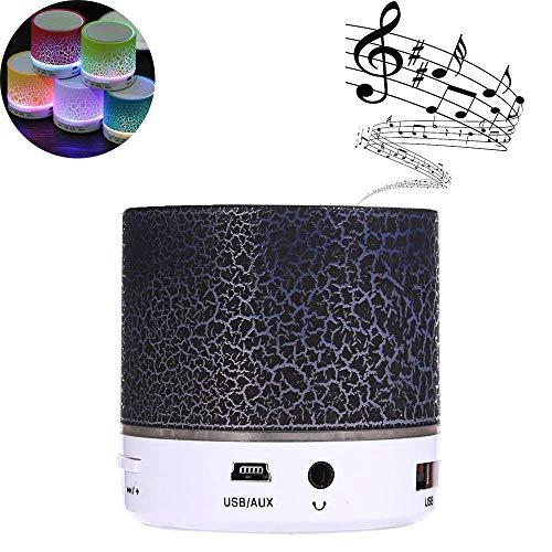 Hipipooo Mini LED Wireless Bluetooth Speaker Cracked Layer USB/TF-kaart/FM Music Sound Box subwoofer met kleurrijk licht (zwart)